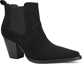 Details about  /7 Colors Women/'s Pointy Toe Chunky Heel Ankle Boots Western Biker Casual Shoes D