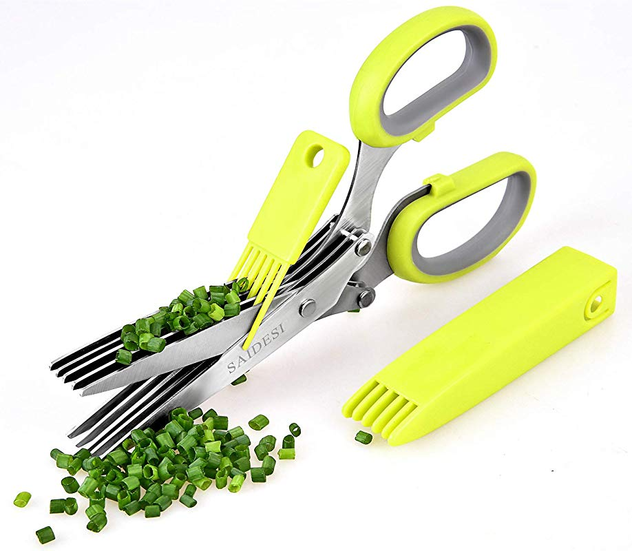 JINJI Kitchen Scissors Multi Function Cutting Clip With 5 Stainless Steel Blades With Cleaning Comb And Safety Cover For Processing Herbs And Office Waste Paper