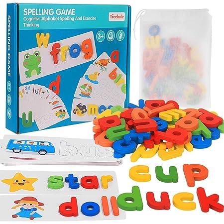Alfabeto Rompecabezas de Madera, Juguete De Madera para Niños Montessori Juguete de Aprendizaje de Ortografía para Niños y Niñas Juego de Letras a Juego