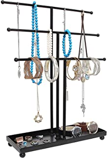 Top1Shop Modern Metal 3 Tier Table Top Bracelet & Necklace Jewelry Organizer Display Tree Rack, Hanging Jewelry Holder/Ear...