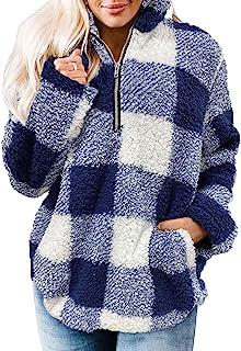 MEROKEETY Women's Plaid Sherpa Fleece Zip Sweatshirt Long Sleeve Pullover Jacket