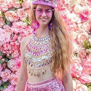 Victray Boho Rhinestone Body Chain Top Dance Beach Body Chains Bra Fashion Charm Harness Chain Body Accessories Jewelry for Women and Girls