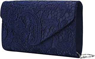 iEFiEL Women Satin Rhinestone Envelope Clutch Purse Bag for Evening Party Navy One Size