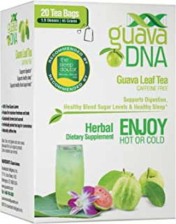 GuavaDNA Guava Leaf Tea Individually Wrapped Teabags | 100% Pure Guava Leaves, Nothing Else Added. | Great For Digestion, Anti-Diarrhea Support | Sleep Support Teas (20 Tea Bags)