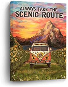 VinMea Wooden Frame Art Prints of Oil Paintings - Camping Mountain and Truck Always Take The Scenic Route Home Decor in Office Bedroom Living Room 12