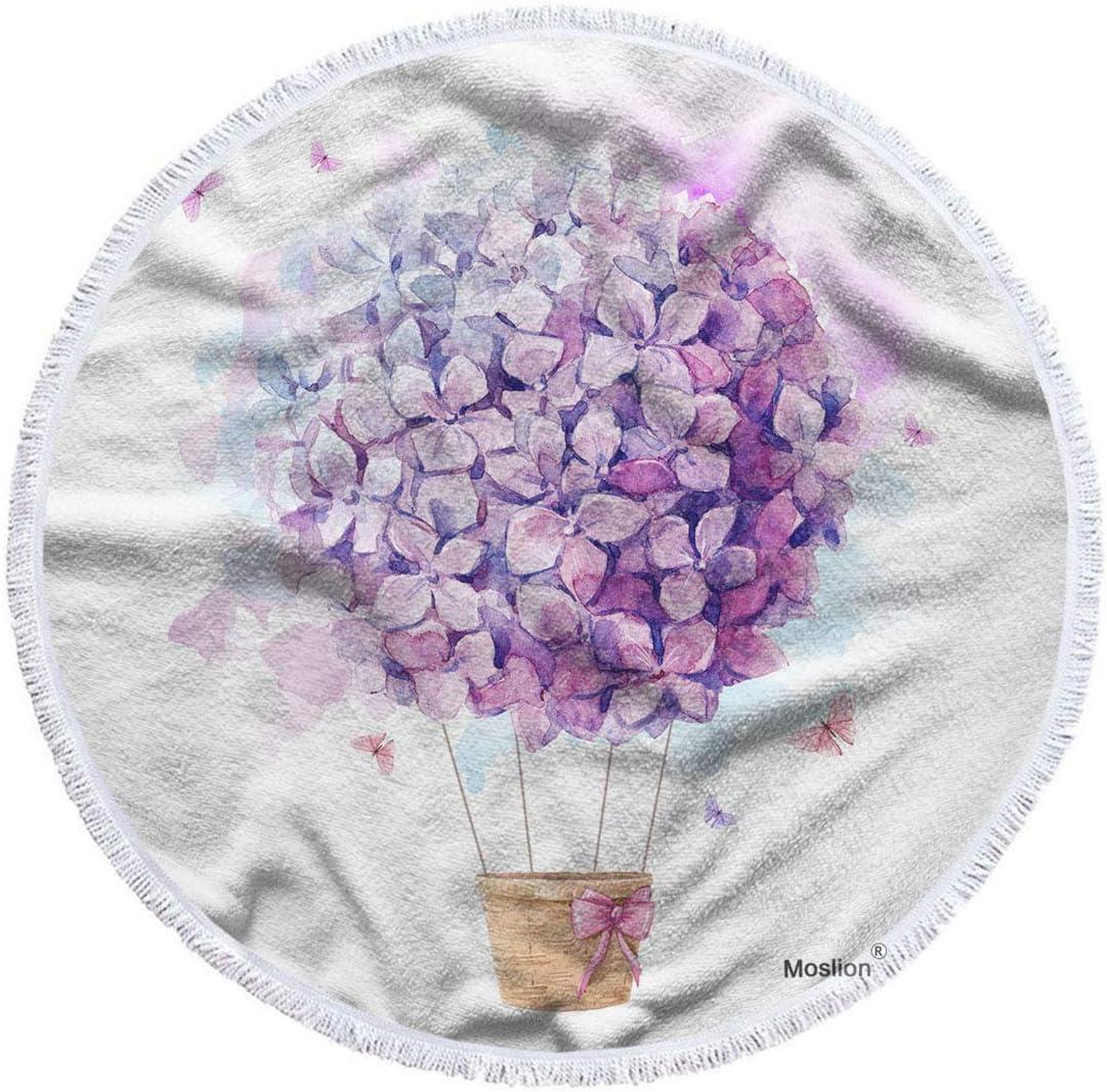 New sales Moslion Floral Beach mart Towel Blanket Hot L Hydrangeas Balloon with