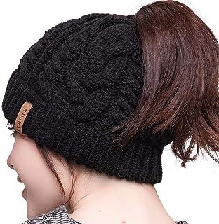 FURTALK Womens Beanie Cable Knit Messy High Bun Ponytail Beanie Hat