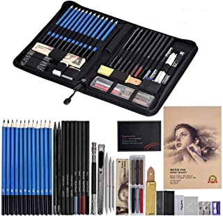 Cozywind 49pcs Lapices Dibujo Artístico Bosquejo Material Set,Incluye Lápices Pastel,Grafito,Carboncillos,Bloc,Caja Portátil