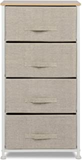 Vertical Dresser Storage Tower with 4 Drawers,Fabric Storage Tower,Sturdy Steel Frame, Wood Top, Easy Pull Fabric Bins,Organizer Unit