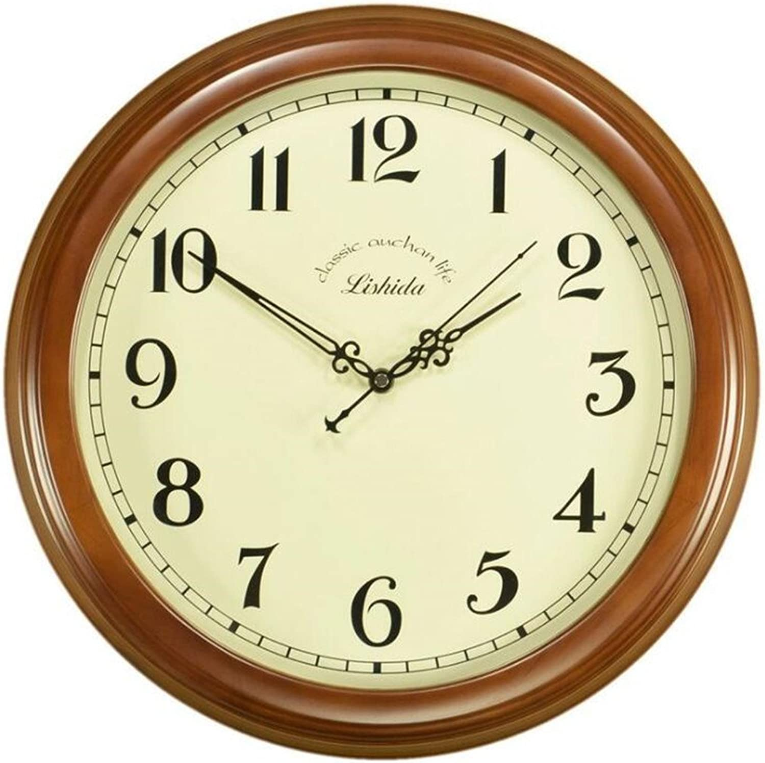 American Retro Simple Wall Clock Mute Round Wooden Living Room Decoration Table Creative Fashion Quartz Clock Bedroom Wall Clock 14 inch