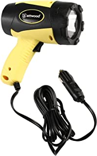 attwood 11794-7 Portable 5W LED Emergency Spotlight 12V Adapter Plug, Safety Yellow/Black