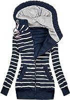Women Autumn/Winter Casual Hooded Coat Stitching Stripe Prints Pockets Jacket Zipper Sweatshirt Jacket Coat