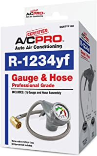 InterDynamics Certified AC Pro Car Air Conditioner Hose and Gauges for R1234YF Refrigerant, Recharge Kit for Cars & Trucks & More, Reusable, 24 in, CERTYF102-4
