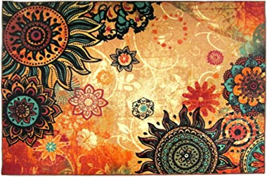 "EUCH Contemporary Boho Retro Style Abstract Living Room Floor Carpets,Non-Skid Indoor/Outdoor Large Area Rugs,75""x98"""