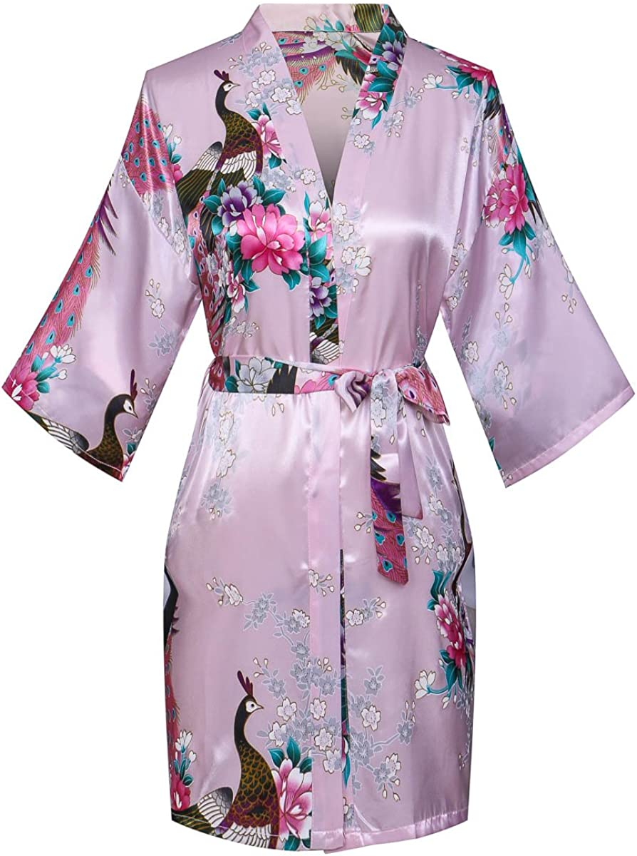 Joy Bridalc Women's Short Floral 70% OFF Outlet Bri Our shop OFFers the best service PeacockBlossom Robe Kimono