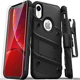 ZIZO Bolt Series iPhone XR Case Military Grade Drop Tested with Tempered Glass Screen Protector Holster and Kickstand Black Black