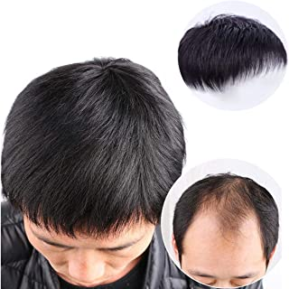 CYY Men Hair Tropper, Men Short Black Top Wig Human Hair Toupee Clip Hairpiece Wig for Daily Wear