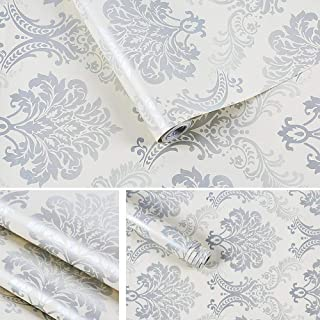 LIFAVOVY Damask Removable Wallpaper Peel and Stick Contact Paper Decorative Self Adhesive Shelf Drawer Liner Roll 17.7