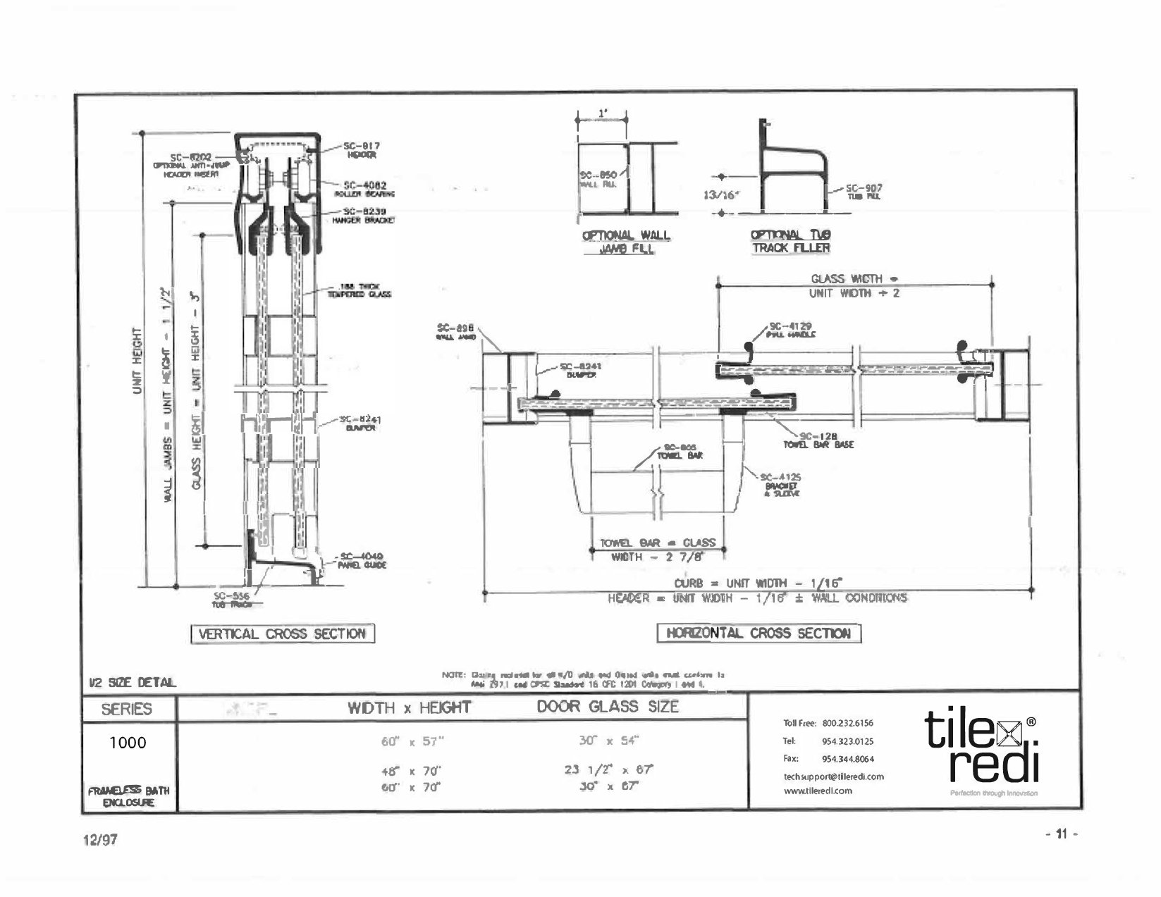 Tile Redi USA 10RCBLT06057 Puerta corredera para tina de 57 ...