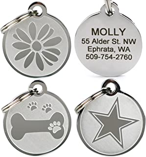 GoTags Playful, Custom Engraved Pet ID Tags, Solid Stainless Steel, Personalized Dog and Cat Pet ID with up to 4 Lines of Text, Cute, Durable and Long-Lasting