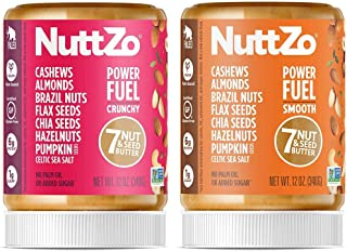 NuttZo Power Fuel Smooth + Power Fuel Crunchy Nut Butter Bundle, Natural, Paleo, Seven Nuts & Seeds (Peanut Free), 2 - 12 ...