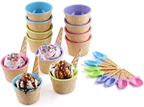 Greenco Set of 12 Vibrant Colors Ice Cream Bowls and Spoons