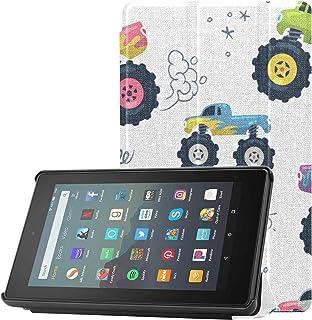 Pokrowiec Kindle 7-calowy zestaw etui Monster Truck Cartoon Fire Tablet 7 etui 2019 do tabletu Fire 7 (9. generacji, wydan...