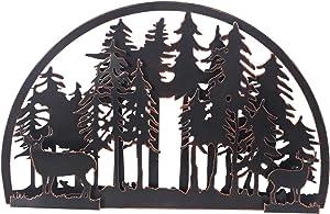 Adeco Deer and Pine Tree Metal Art Wall Decor for Living Room, Bedroom, Bathroom Indoor Outdoor, Deer in Forest Metal Wall Art 18.1
