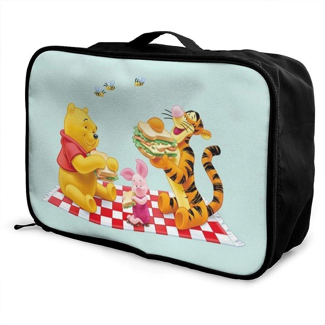 のぞき見かみそり泣き叫ぶボストンバッグ くまのプーさんとティガー キャリーオンバッグ トラベルバッグ 大容量 厚手 丈夫 荷物 折りたたみ スーツケース固定可 旅行 出張 男女兼用 かわいい おしゃれ
