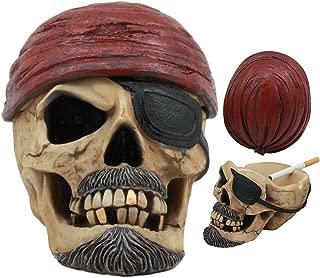 Ebros Caribbean Jolly Roger Red Bandanna Pirate Skull Ashtray Statue 4.75