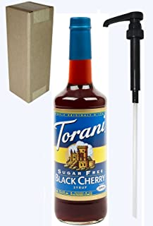 Torani Sugar Free Black Cherry Flavoring Syrup, 750mL (25.4 Fl Oz) Glass Bottle, Individually Boxed, With Black Pump