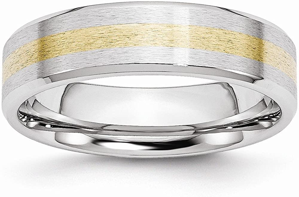 ICE CARATS Cobalt 14k Gold Inlay 6mm Wedding Ring Band Precious Metal Fine Jewelry for Women Gifts for Her