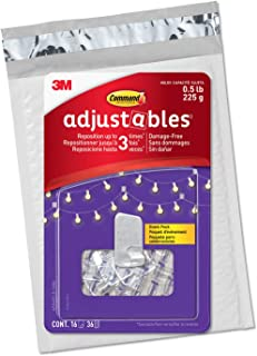 Command Adjustables Repositionable Clips, hold up to 0.5 lb, 16 Clips and 36 Strips