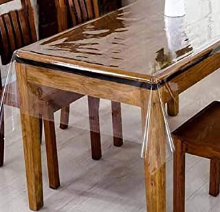 Casa Furnishing PVC Transparent Clear Dining Table Cover / Cloth Waterproof Protector, 4-6 Seater, 54 X 78 Inches Rectangl...