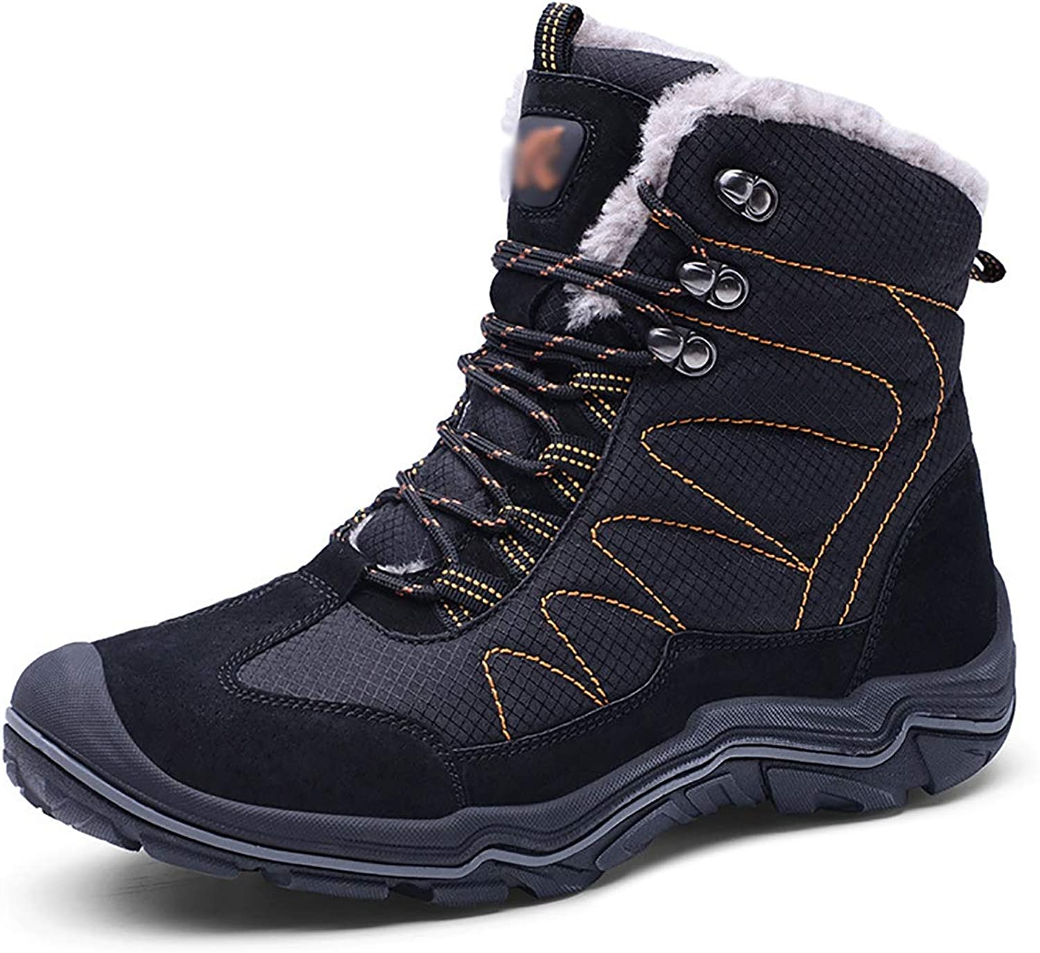 Snow Boots Winter Cotton shoes Men, high to Help Men Warm and Cotton Thick Casual Hiking shoes,Black,43