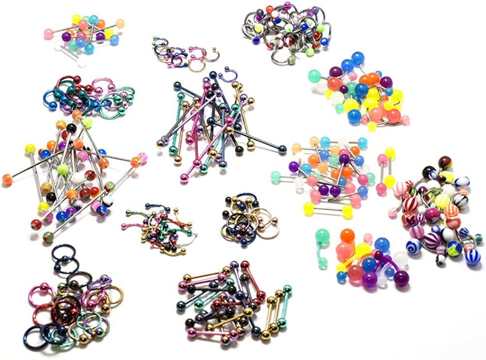Body Jewelry Lot 232 Pieces Anodized Steel Acrylic Nose Ring Nipple Belly 14G 16G