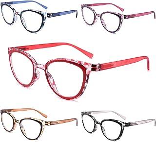 Yuluki 5 Pack Reading Glasses Blue Light Blocking, Spring Hinge Stylish Cat Eye Womens Readers