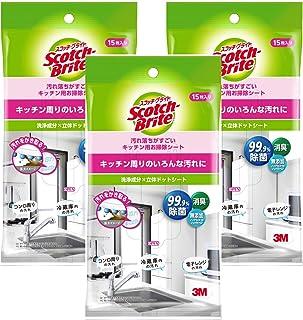 【Amazon.co.jp限定】 3M キッチン お掃除 シート 無添加 除菌 99.9% 消臭 3個 スコッチブライト KCS-15 3P