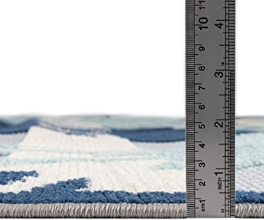 Rugs.com Aruba Outdoor Collection Rug – 9' x 12' Gray Blue Low-Pile Rug Perfect for Any Outdoor Space, Living Rooms,