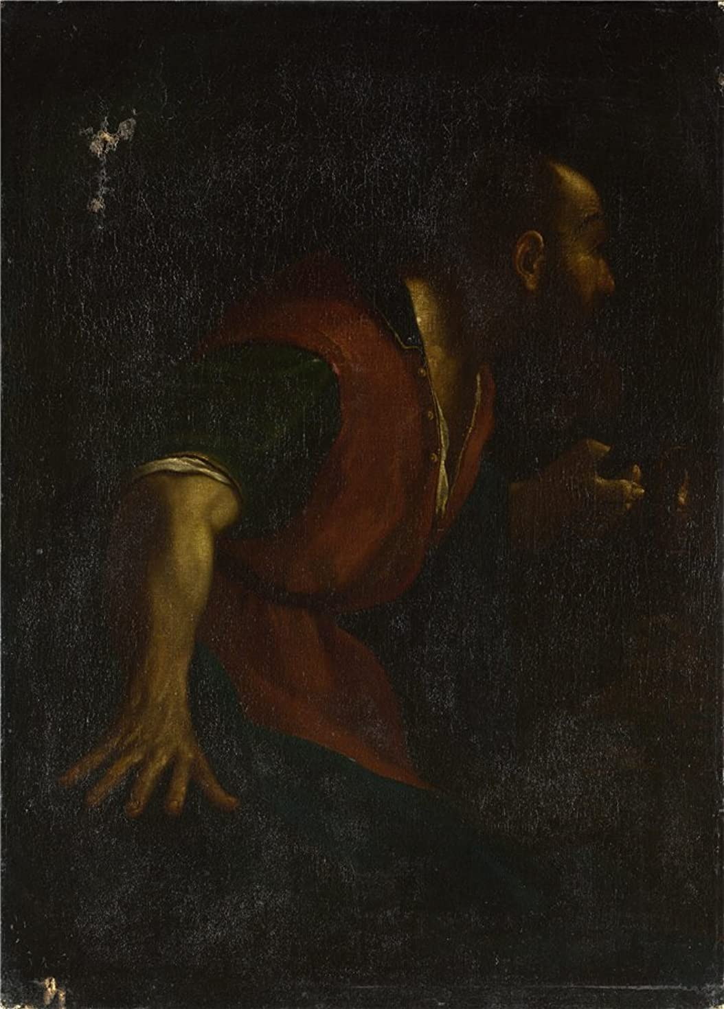 The Polyster Canvas Of Oil Painting 'After Guercino A Bearded Man Holding A Lamp ' ,size: 12 X 17 Inch / 30 X 43 Cm ,this Amazing Art Decorative Prints On Canvas Is Fit For Living Room Artwork And Home Artwork And Gifts