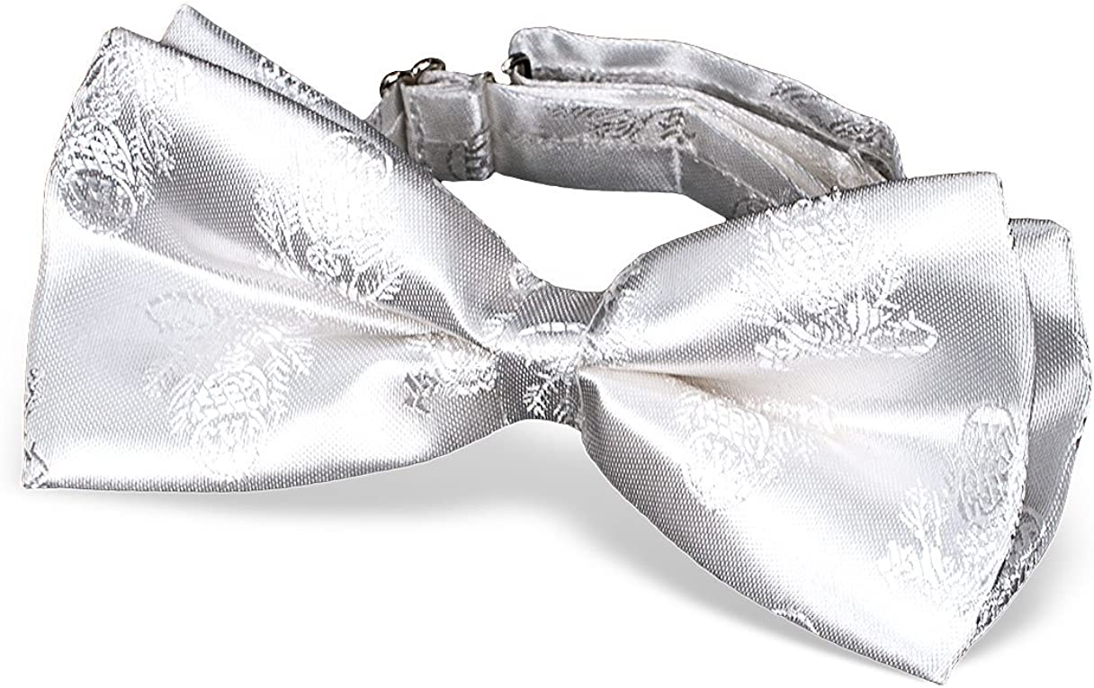 First Communion Tie, White Brocade Bow for Boys, 5 Inch
