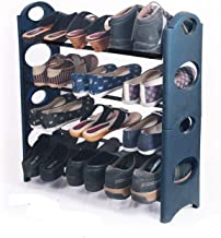 Dozzer Unbreakable Heavy Plastic 4 Shelves Shoe Rack, Blue Color