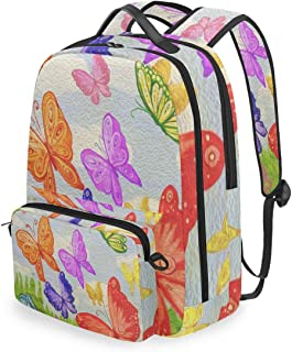 SLHFPX Women/Men Backpack Butterfly Watercolor Bookbag College School Shoulder Bag Daypack Travel Rucksack for Youth