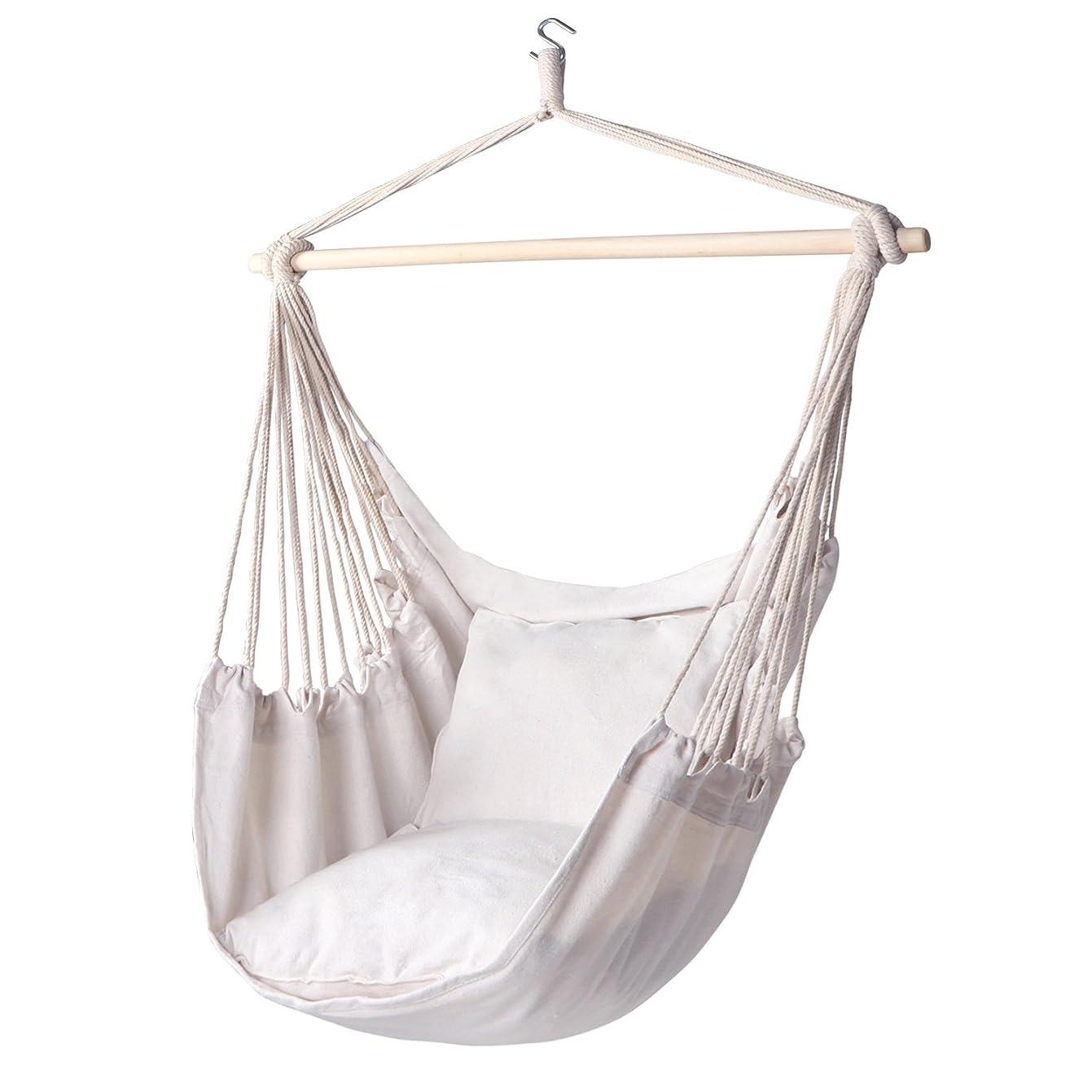 気質議論する例ハンモックチェア吊りロープスイング - 最大320ポンド - 2つのシートクッションが含まれる - 優れた快適性と耐久性 綿織り(ベージュ) 141[並行輸入]