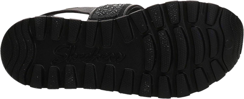 Skechers Women's Foamies Footsteps-Glam Party Sandal, Black/Black, 11 M US
