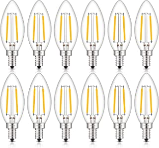 CRLight LED Candelabra Bulb 25W Equivalent 250 Lumens, 3000K Soft White 2W Filament LED Chandelier Light Bulbs, E12 Base Vintage Edison B11 Clear Glass Candle Bulbs, Non-dimmable Version, 12 Pack