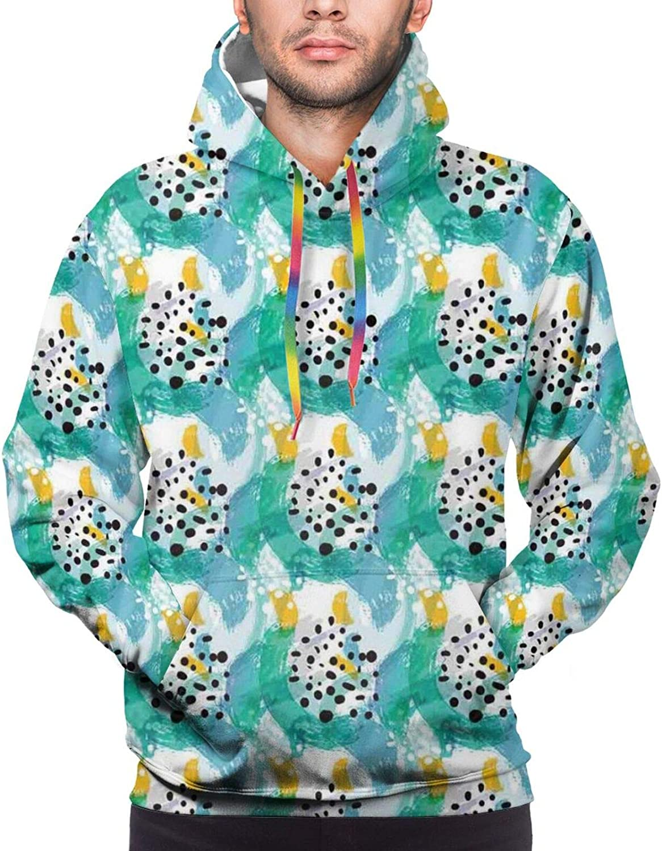 Men's Hoodies Sweatshirts,Pattern of The Leafs Grungy Botanical Stamp Green Spirals Motif Design