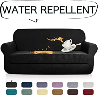 AUJOY Stretch 2-Piece Sofa Covers Water-Repellent Dog Cat Pet Proof Couch Slipcovers Protectors (XL Sofa, Black)