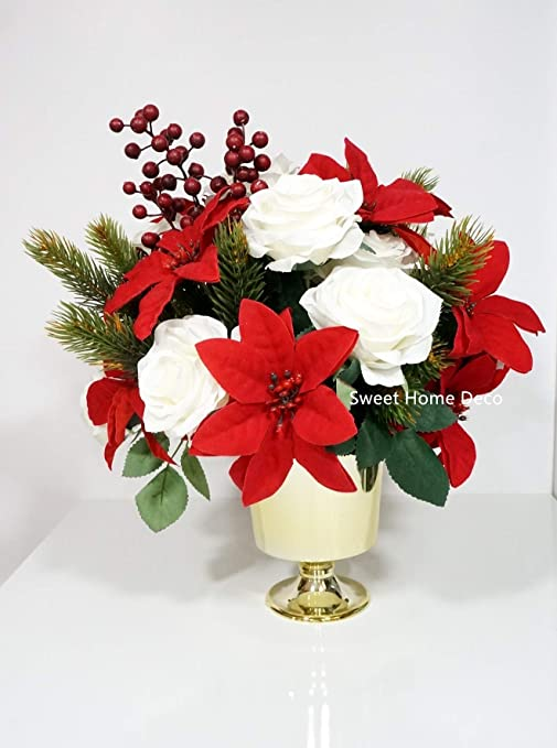Amazon Com Sweet Home Deco Silk Rose Poinsettias Artificial Pine Berries Arrangement In Gold Plastic Vase Christmas Centerpiece Holiday Red White Home Kitchen