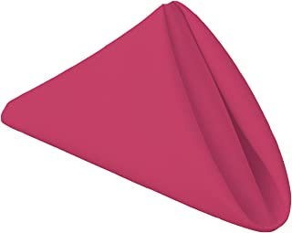 Gee Di Moda Cloth Napkins - 17 x 17 Inch Fuchsia Solid Washable Polyester Dinner Napkins - Set of 12 Napkins with Hemmed Edges - Great for Weddings, Parties, Holiday Dinner & More